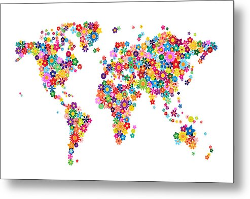 World Map Metal Print featuring the digital art Flowers Map Of The World Map by Michael Tompsett
