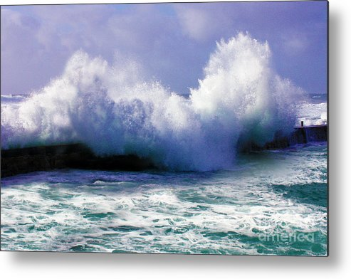 Stormy Metal Print featuring the photograph Wild Waves In Cornwall by Terri Waters