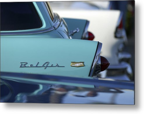 Car Metal Print featuring the photograph 1956 Chevrolet Belair Nomad Rear End by Jill Reger