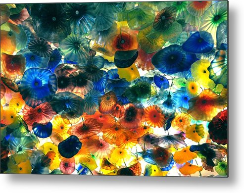 Nature Metal Print featuring the pyrography Glass Flowers by Ernesto Cinquepalmi