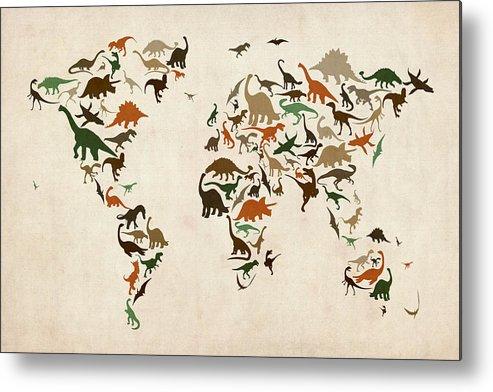 World Map Metal Print featuring the digital art Dinosaur Map Of The World Map by Michael Tompsett