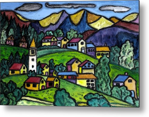 Swiss Metal Print featuring the painting A Folksy Swiss Town by Monica Engeler