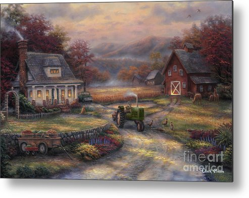 Tractor Metal Print featuring the painting Afternoon Harvest by Chuck Pinson