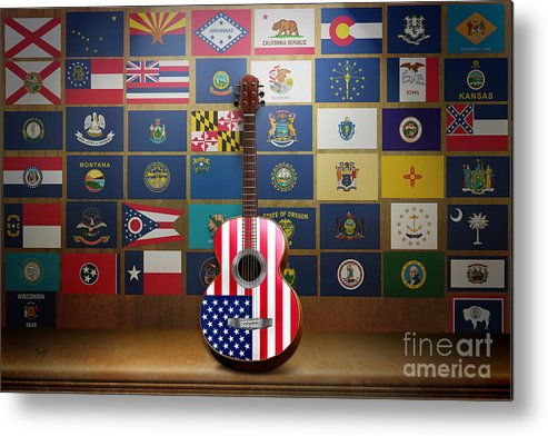 States Metal Print featuring the digital art All State Flags by Bedros Awak