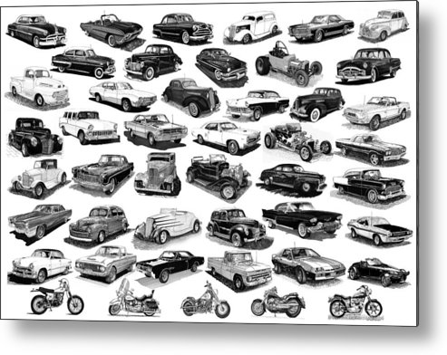 Framed Poster Of Cars & Motorcycles In Black & White Metal Print featuring the drawing Automotive Pen And Ink Poster by Jack Pumphrey