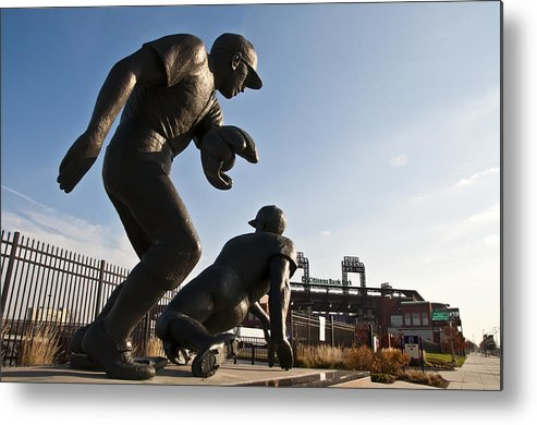 Baseball Statue At Citizens Bank Park Metal Print featuring the photograph Baseball Statue At Citizens Bank Park by Bill Cannon