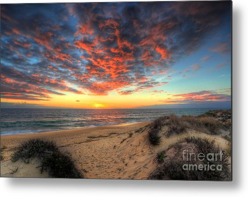 Manateevoyager Metal Print featuring the photograph Beachcombers Sunset by English Landscapes