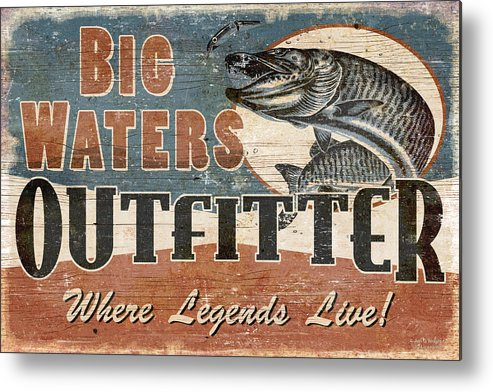 Jon Q Wright Metal Print featuring the painting Big Waters Outfitters by JQ Licensing