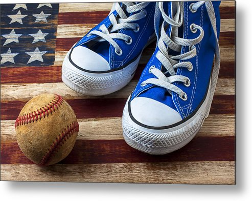 Blue Metal Print featuring the photograph Blue Tennis Shoes And Baseball by Garry Gay