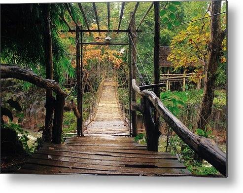 Bridge Metal Print featuring the photograph Bridge Over Waterfall by Nawarat Namphon