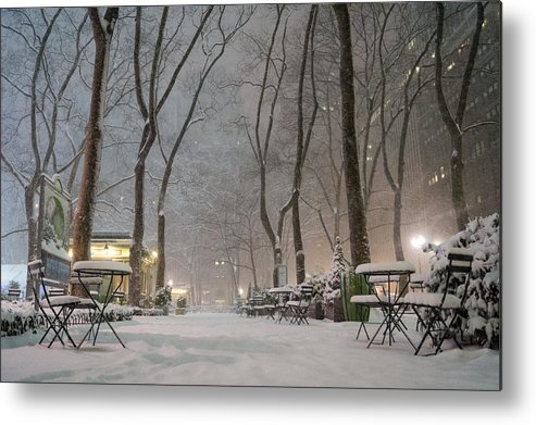 Nyc Metal Print featuring the photograph Bryant Park - Winter Snow Wonderland - by Vivienne Gucwa