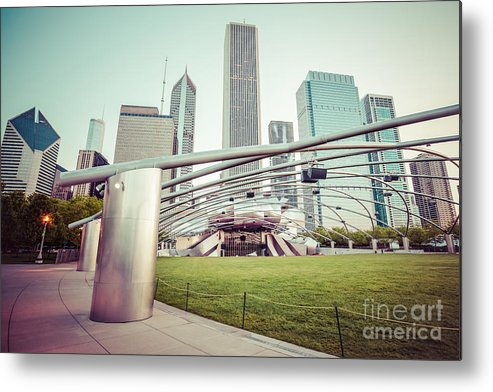 America Metal Print featuring the photograph Chicago Skyline With Pritzker Pavilion Vintage Picture by Paul Velgos