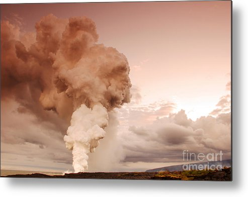 Kilauea Volcano Metal Print featuring the photograph Coastal Steam Plume At Kilauea Volcano by Stephen & Donna O'Meara