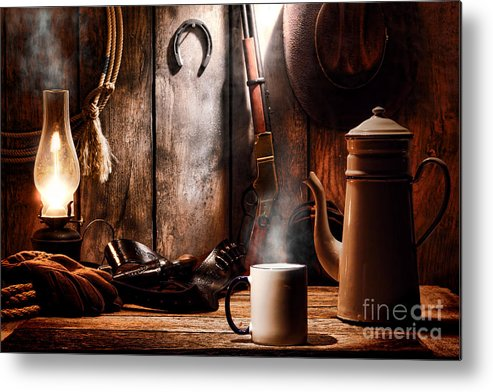 Coffee Metal Print featuring the photograph Coffee At The Cabin by Olivier Le Queinec