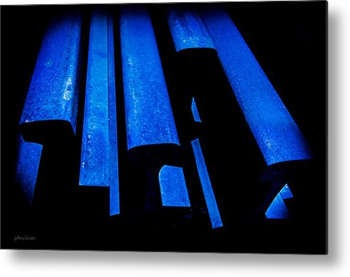 Abstracts Metal Print featuring the photograph Cold Blue Steel by Steven Milner