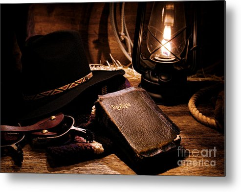 Western Metal Print featuring the photograph Cowboy Bible by Olivier Le Queinec