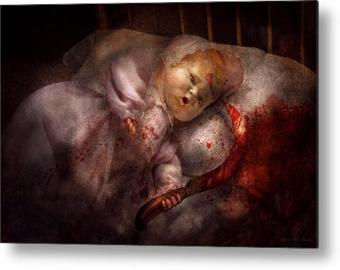 Doll Metal Print featuring the digital art Creepy - Doll - Night Terrors by Mike Savad