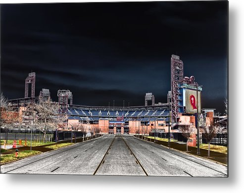 Dark Metal Print featuring the photograph Dark Skies At Citizens Bank Park by Bill Cannon