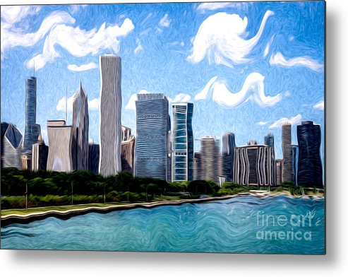 2012 Metal Print featuring the photograph Digitial Painting Of Downtown Chicago Skyline by Paul Velgos