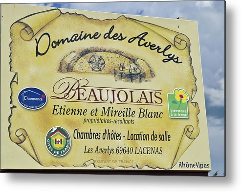 Beaujolais Metal Print featuring the photograph Domaine Des Averlys by Allen Sheffield