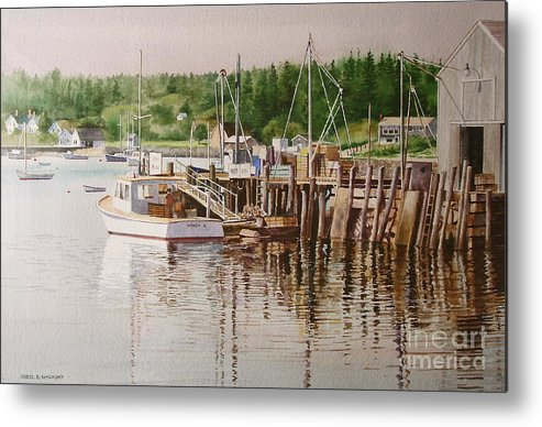 Harbor Metal Print featuring the painting Downeast Reflections by Karol Wyckoff