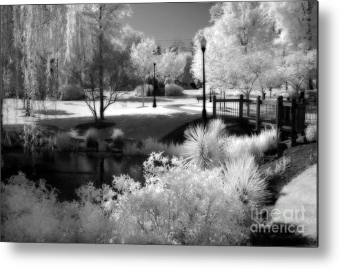 Infrared Art Prints Metal Print featuring the photograph Dreamy Surreal Black White Infrared Landscape by Kathy Fornal