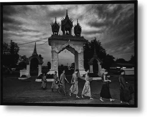 Thailand Metal Print featuring the photograph Early Morning Monks by David Longstreath