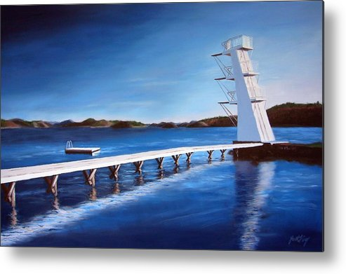 Diving Board Metal Print featuring the painting Farsund Badehuset On A Sunny Day by Janet King