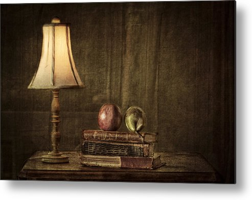 Apple Metal Print featuring the photograph Fruit And Books by Erik Brede