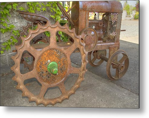 Tractor Metal Print featuring the photograph Green Axle by Jean Noren