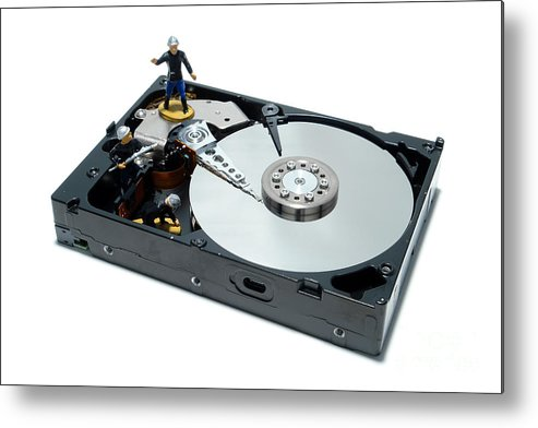 Computer Metal Print featuring the photograph Hard Drive Firewall by Olivier Le Queinec