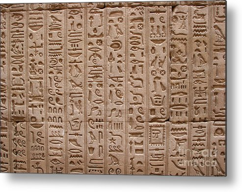 Philae Metal Print featuring the photograph Hieroglyphs At The Temple Of Philae by Stephen & Donna O'Meara