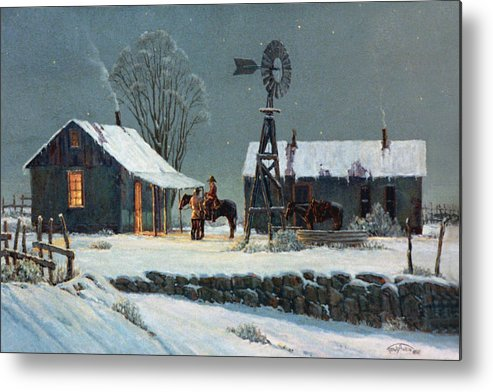 Night Metal Print featuring the painting Long Day's End by Randy Follis