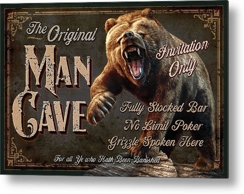 Jeff Wack Metal Print featuring the painting Man Cave Grizzly by JQ Licensing