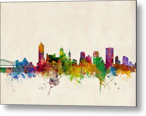 Watercolour Metal Print featuring the digital art Memphis Tennessee Skyline by Michael Tompsett