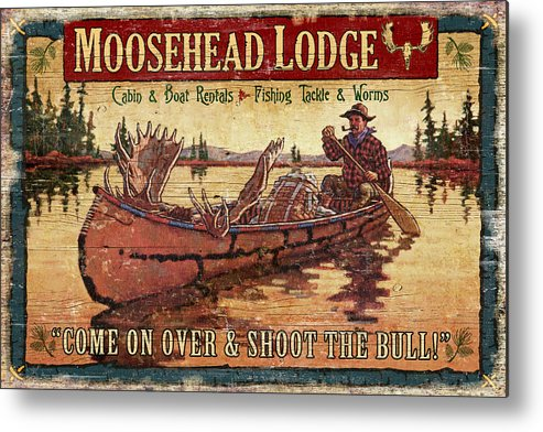 Tin Tanner Metal Print featuring the painting Moosehead Lodge by JQ Licensing