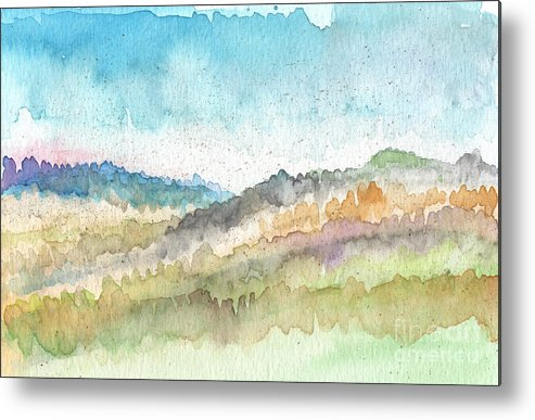 Watercolor Landscape Metal Print featuring the painting New Morning by Linda Woods
