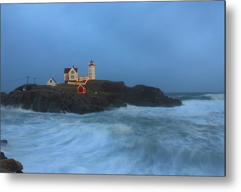 Maine Lighthouse Metal Print featuring the photograph Nubble Lighthouse High Surf And Holiday Lights by John Burk