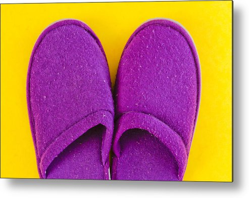 Cosy Metal Print featuring the photograph Purple Slippers by Tom Gowanlock