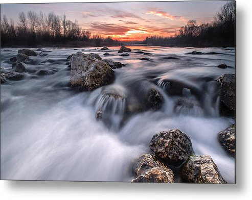 Landscapes Metal Print featuring the photograph Rapids On Sunset by Davorin Mance