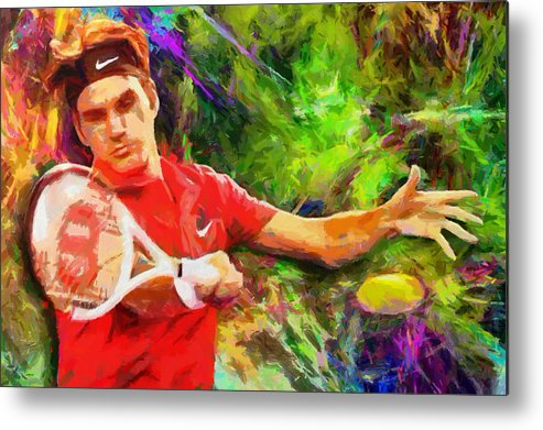 Roger Federer Paintings Metal Print featuring the digital art Roger Federer by RochVanh