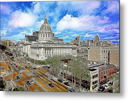San Francisco Metal Print featuring the photograph San Francisco City Hall 5d22507 Photoart by Wingsdomain Art and Photography