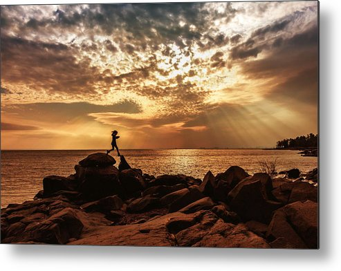 shine On Me chasing Light child In Landscape Children Light Silhouette lake Superior north Shore brighton Beach rock Scrambling Sunset sun Rays Rays Girl capture Minnesota greeting Cards mary Amerman Metal Print featuring the photograph Shine On Me by Mary Amerman