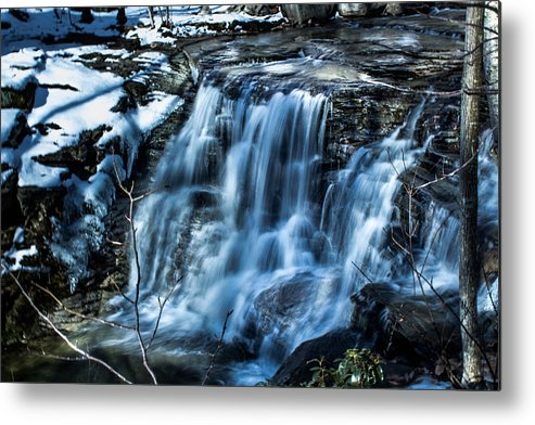 Waterfall Metal Print featuring the photograph Snowy Waterfall by Jahred Allen