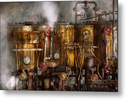 Steampunk Metal Print featuring the photograph Steampunk - Plumbing - Distilation Apparatus by Mike Savad