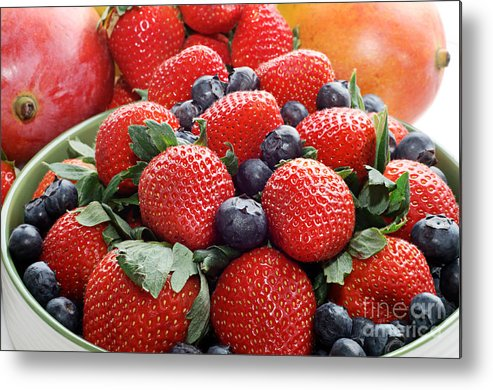 Strawberries Metal Print featuring the photograph Strawberries Blueberries Mangoes - Fruit - Heart Health by Andee Design