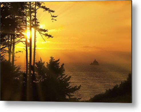 Lighthouse Metal Print featuring the photograph Sunset Thru The Trees by Andrew Soundarajan