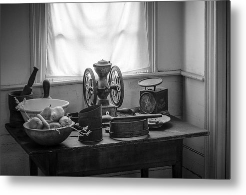 Nostalgic Metal Print featuring the photograph The Old Table By The Window - Wonderful Memories Of The Past - 19th Century Table And Window by Gary Heller
