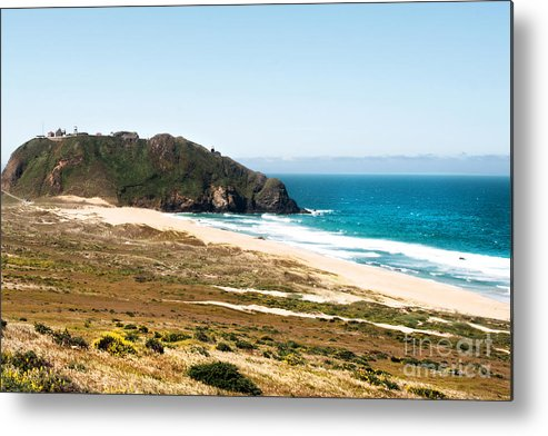 Piedras Blancas Lighthouse Metal Print featuring the photograph The Rock Of Piedras Blancas Lighthouse In San Simeon Ca by Artist and Photographer Laura Wrede