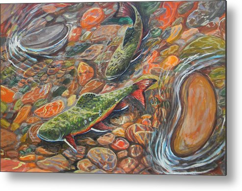 Trout Metal Print featuring the painting Trout Stream by Jenn Cunningham
